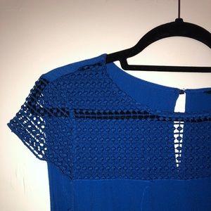 Zara Royal Blue Lattice Neck Detail Dress